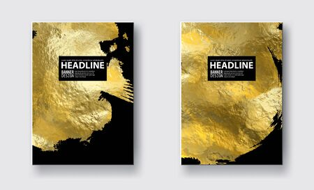 Vector black and gold design templates for brochures, flyers, mobile technologies, applications, online services. Typographic emblems, icon, banners and info-graphic. Golden abstract modern background illustration. 일러스트