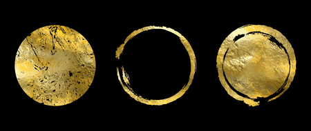 Vector gold circle frame set. Abstract illustration