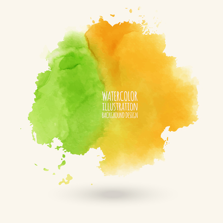 Vector green orange yellow autumn brush strokes. Watercolor Grunge isolated elements. Smoke brushes for your design. Freehand. Ink splash. Acrylic stamp. Vector illustration