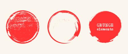 Grunge red circle shapes. Abstract vector illustration. Ilustração