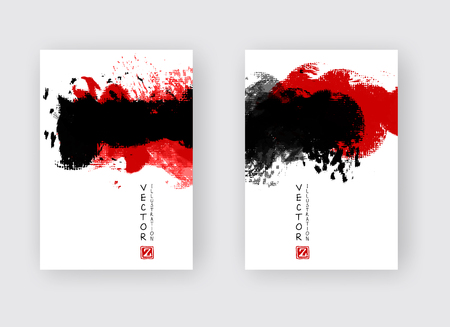 Red black ink brush stroke on white background. Japanese style. Vector illustration of grunge strip stains Stock Illustratie