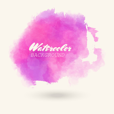 Pink abstract watercolor background for logo. Hand drawn stains and splashes. Vector texture illustration handmade