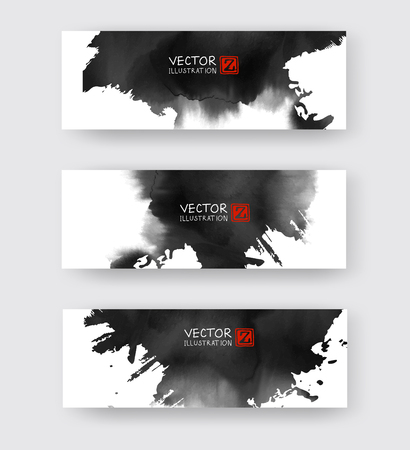 Banners with abstract black ink element wash painting element in East Asian style. Traditional Japanese ink painting sumi-e. Hieroglyph - clarity.