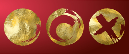 Vector gold circle frame set. Abstract vector illustration.
