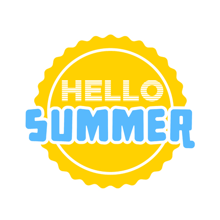 Hello Summer on color circle. Isolated typographic design label. Season holidays lettering for icon, templates, invitation, greeting card, prints and posters. Enjoy the beach party.