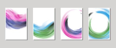 Vektorfahne formt die Sammlung, die auf weißem Hintergrund lokalisiert wird. Hand gezeichnete abstrakte Pinselanschläge eingestellt.