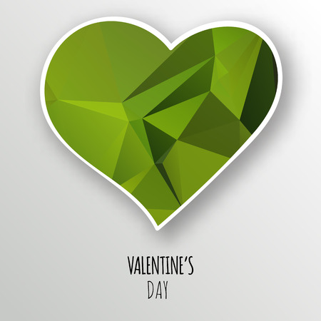Vector green crystal heart isolated on white background. Geometric rumpled triangular low poly style gradient graphic illustration. Polygonal badge design for your business. Illustration