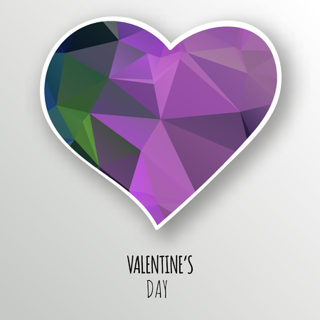 Vector purple crystal heart isolated on white background. Geometric rumpled triangular low poly style gradient graphic illustration. Polygonal badge design for your business. Illustration
