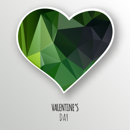Vector green crystal heart isolated on white background. Geometric rumpled triangular low poly style gradient graphic illustration. Polygonal badge design for your business. Ilustração