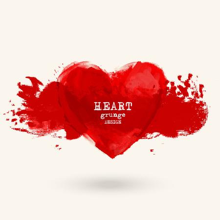 Abstract vector grunge heart symbol design. Love concept.