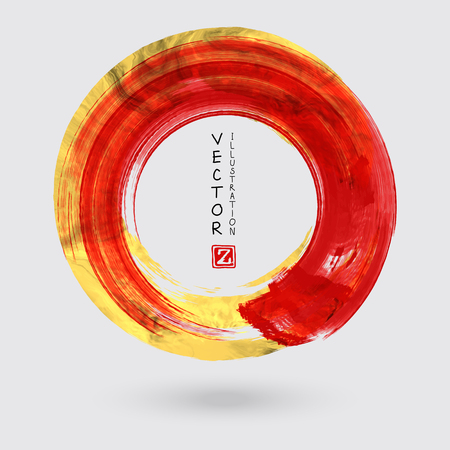 A Vector Red and Gold Circle Design Templates for Brochures, Flyers and Mobile Technologies