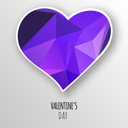 A Vector purple crystal heart isolated on white background. Geometric rumpled triangular low poly style gradient graphic illustration. Polygonal badge design for your business. Illustration
