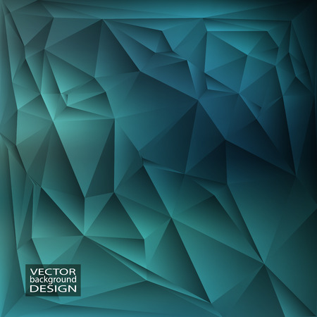 Green geometric background with triangles. Blurred gradient mosaic pattern. Vector illustration. Иллюстрация