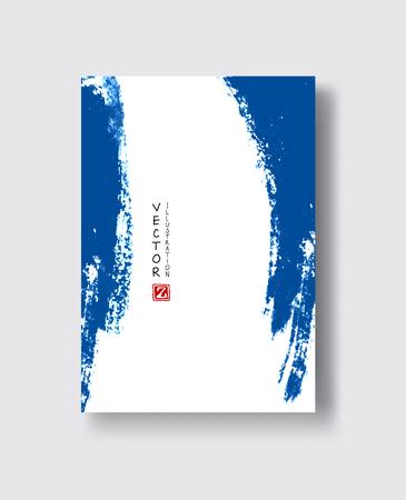 Elegant blue brochure template design with ink brush elements. Abstract decoration. Vector illustration.