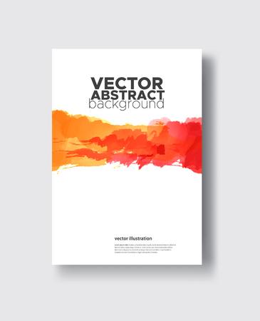 Red orange ink brush stroke on white background. Japanese style. Vector illustration of grunge circle stains Stock Illustratie