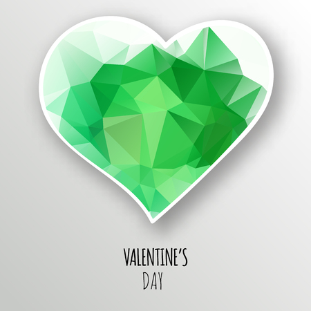 A Vector green crystal heart isolated on white background. Geometric rumpled triangular low poly style gradient graphic illustration. Polygonal badge design for your business. Vectores