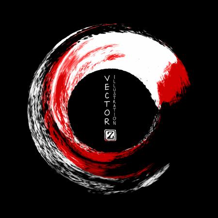 Japanische Art des runden Anschlags der weißen und roten Tinte auf schwarzem Hintergrund, Vektorillustration von Schmutzkreisflecken
