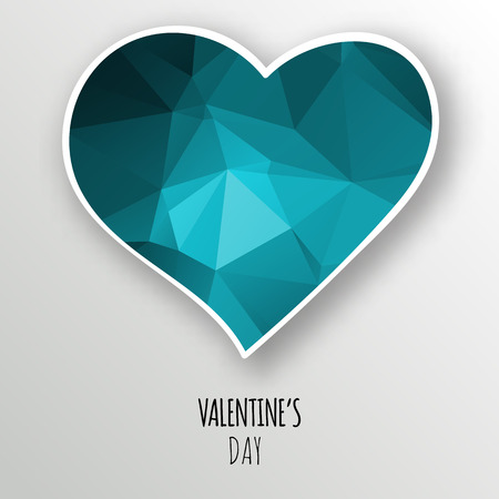 Vector blue crystal heart, isolated on white background. Geometric rumpled triangular low poly style gradient graphic illustration. Polygonal badge design for your business.