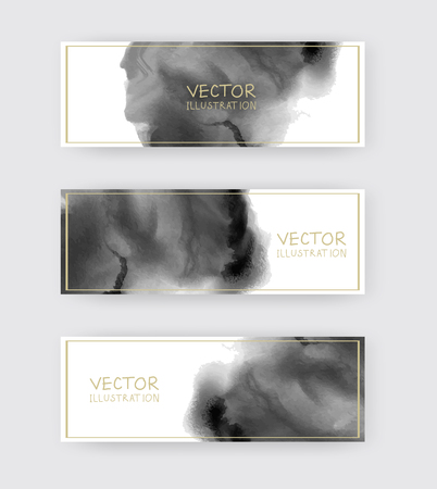 Black and white banners set with abstract black ink wash painting