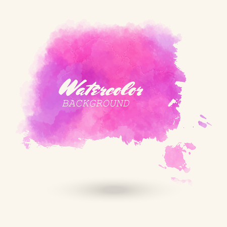 Pink abstract watercolor background for icon. Hand drawn stains and splashes. Vector texture illustration handmade.