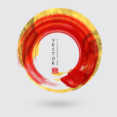 Vector Red and Gold Circle Design Templates for Brochures, Flyers, Mobile Technologies, Applications, Online Services, Typographic Emblems, Logo, Banners. Golden Round Abstract Modern Background.