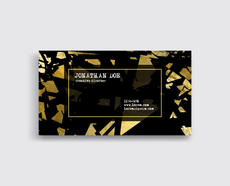 Elegant Template Luxury Business Card with Gold pieces Place for Text. Particles Background. Vector illustration Archivio Fotografico - 98896130