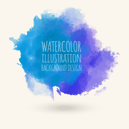 Blue watercolor hand drawn isolated on white background for text design, web. Abstract cold sea color brush paint paper texture illustration element for wallpaper, label. Vector wash spot