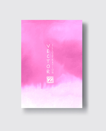Elegant brochure template design with pink ink brush elements. Abstract decoration. Vector illustration.