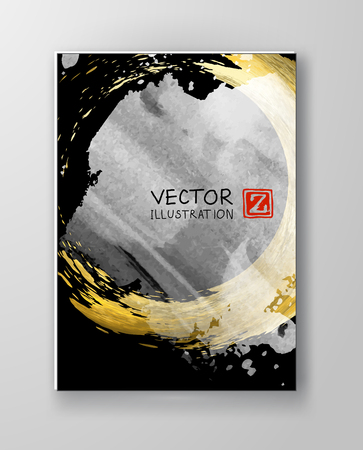 Black, white and gold cover design template Vectores