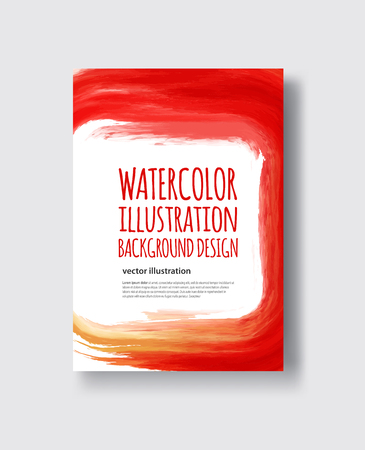 Watercolor red, fire, yellow color design banner. Vector illustration