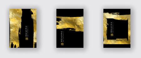 Vector Black and Gold Design Templates set for Brochures, Flyers, Mobile Technologies, Applications, Online Services, Typographic Emblems, Logo, Banners and Infographic. Golden Abstract Modern Background.