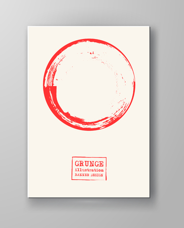 Abstract big red grunge circle on white background. Brochure, banner, poster design. Sealed with decorative red stamp. Stylized symbol of Japan. Vector illustration. Vectores