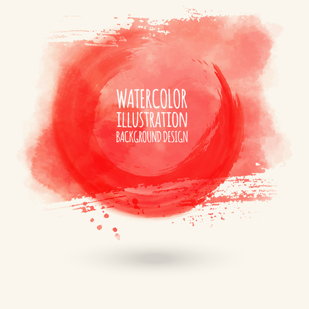 Abstract bright red watercolor blob on white background. The color splashing in the paper. Hand drawn. Vector illustration. Illustration
