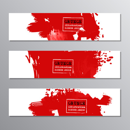 Set of red paint, ink brush strokes, brushes. Dirty artistic grunge design elements, place for text or information. Vector illustration. Illustration
