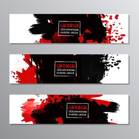 Set of red and black paint, ink brush strokes, brushes. Dirty artistic grunge design elements, place for text or information. Vector illustration.