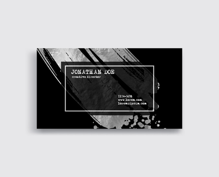 Black and silver Business Card Template. Vector illustration.