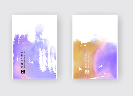 Watercolor color design banners set. Vector illustration Imagens - 124822986