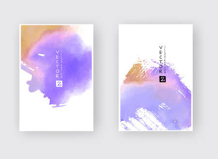 Watercolor color design banners set. Vector illustration Imagens - 124822987