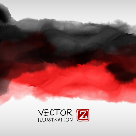 Abstract ink background. Japanese style. Black red white ink in water. Vector illustration. Çizim