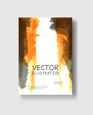 Elegant brochure template design with orange, gold, yellow, gray ink brush elements. Abstract decoration. Vector illustration. Çizim