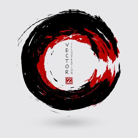 Trait rond d'encre noire et rouge sur fond blanc. Style japonais. Illustration vectorielle de taches de cercle grunge Vecteurs