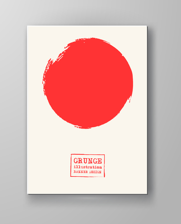 Abstract big red grunge circle on white background. Brochure, banner, poster design. Sealed with decorative red stamp. Stylized symbol of Japan. Vector illustration.  イラスト・ベクター素材