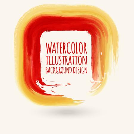 Red ink square stroke on white background. Watercolor element. Vector illustration of grunge geometric stains. Ilustração