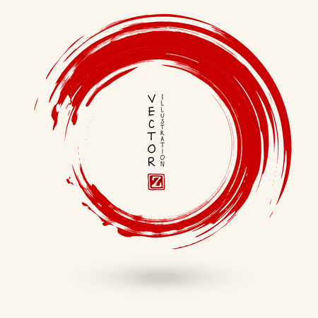 Red ink round stroke. Japanese style. Vector illustration of grunge circle stains
