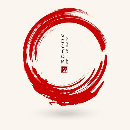Trait rond d'encre rouge. Style japonais. Illustration vectorielle de taches de cercle grunge Vecteurs