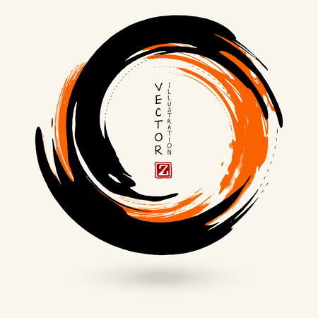 Black and orange ink round stroke on white background. Japanese style. Vector illustration of grunge circle stains