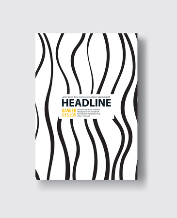 Covers with flat geometric pattern. Cool black and white backgrounds. Abstract retro background.