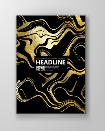 Gold and black Marbling Texture design for poster, brochure, invitation, cover book, catalog. Marble style. Vector illustration