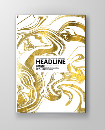 Gold and white Marbling Texture design for poster, brochure, invitation, cover book, catalog. Marble style. Vector illustration  イラスト・ベクター素材