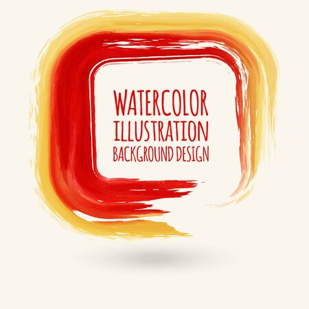 vector red ink square stroke. Abstract vector illustration. Illustration